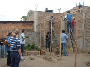Volunteers helping with a building project
