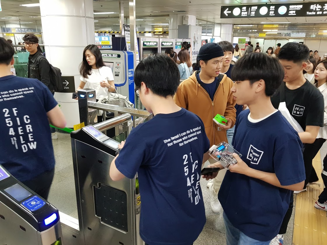 Photos: Senior Students from SongNae High School measuring PM levels in the subway stations in Seoul, S. Korea
